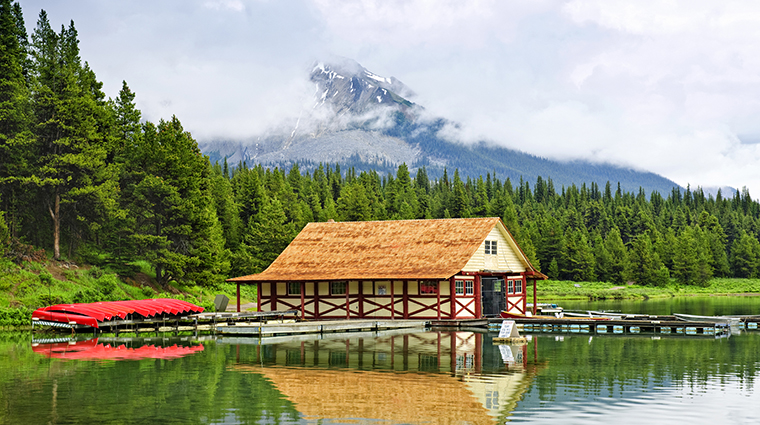 A Boathouse on Maligne Lake, Jasper, Alberta, Canada