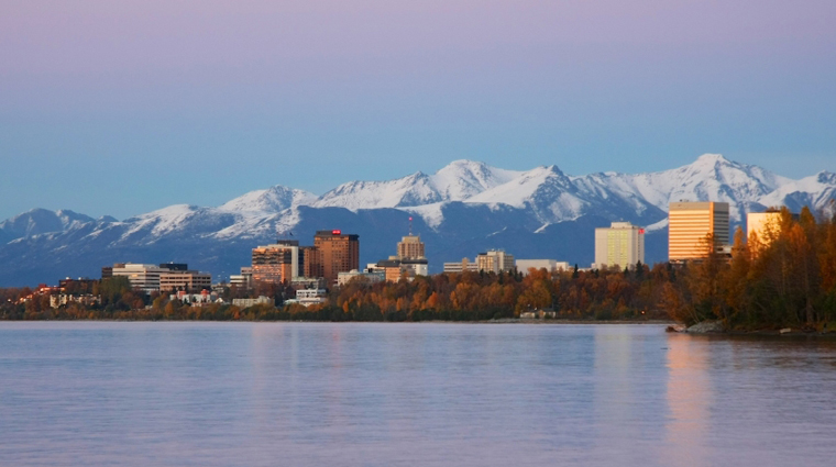 Evening View of Anchorage Skyline and Cook Inlet