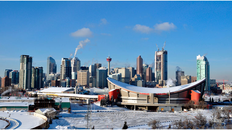 Downtown Calgary with Snow