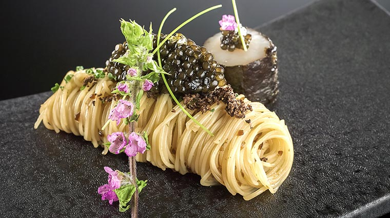 French Caviar Over Cold Angel Hair Pasta