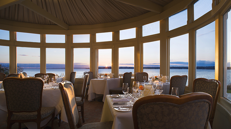 The Dining Room at Castle Hill Inn at Sunset
