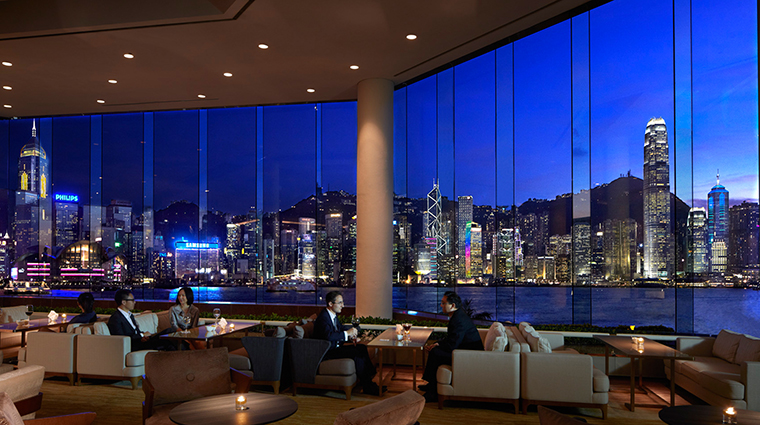 InterContinental Hong Kong Hotel Lobby Lounge View at Night