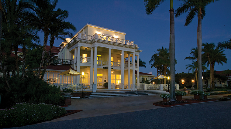The Gasparilla Inn & Club Front Entrance at Night