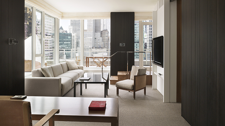 Andaz 5th Avenue Extra Large Terrace Suite Living Room with City View