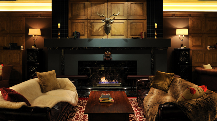 The Macallan Whisky Bar & Lounge Fireplace Seating