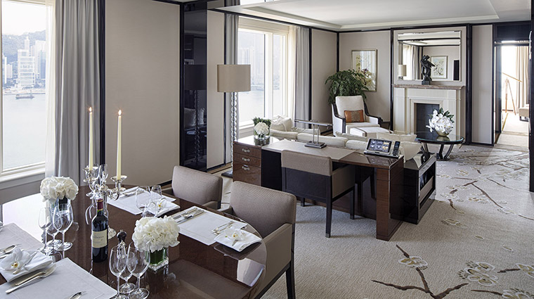 The Peninsula Hong Kong Grand Deluxe Harbor View Suite Dining Room and Living Room
