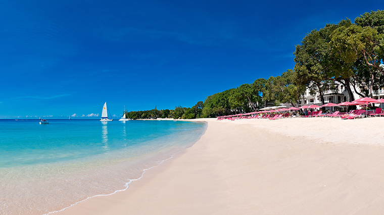 The beach at Sandy Lane Hotel