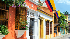 Columbian Flags & Colonial Buildings